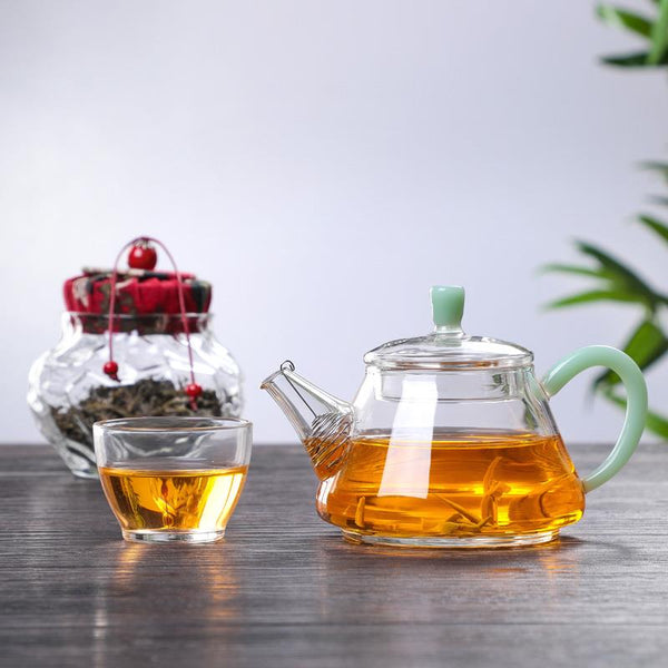 "Jade Handle ""Shi Piao"" Glass Teapot for Tea"
