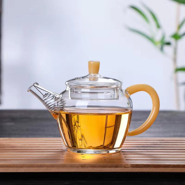 "Amber Handle ""Gu Chun"" Glass Teapot for Tea"