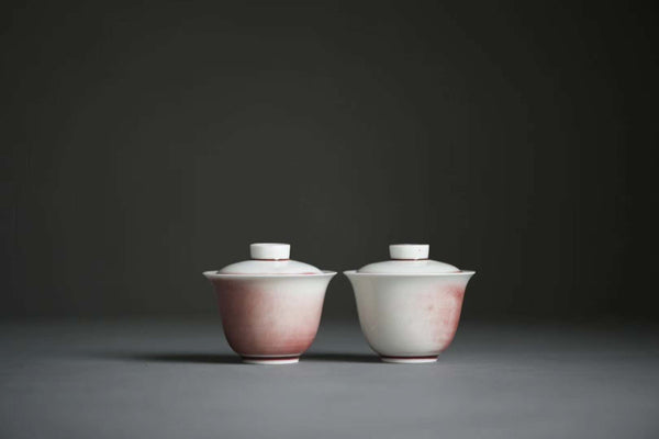 "Jingdezhen ""Sketches of Pink"" Crackle Glazed Gaiwan"