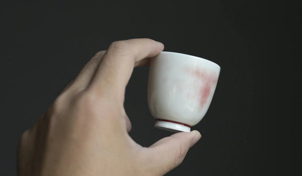 "Jingdezhen ""Sketches of Pink"" Crackle Glazed Tea Cup"