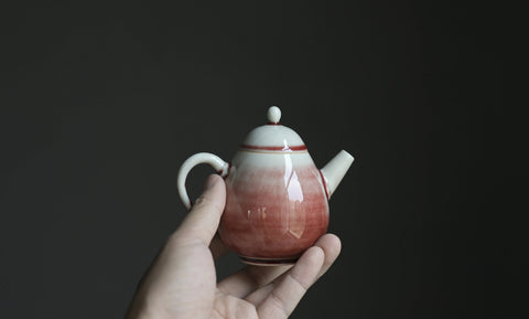 "Jingdezhen ""Sketches of Pink"" Crackle Glazed Pear Teapot"