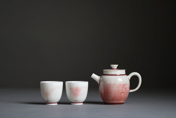 "Jingdezhen ""Sketches of Pink"" Crackle Glazed Ping Gai Teapot"