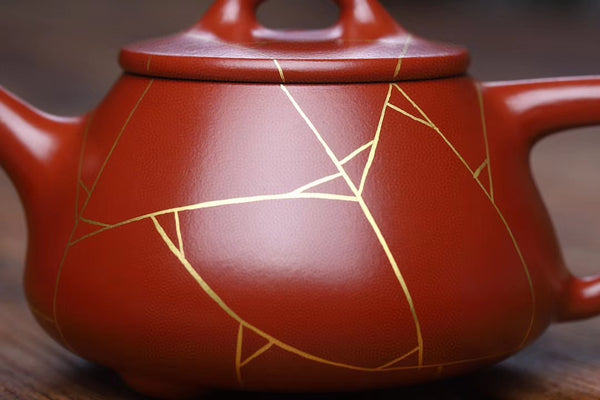"Da Hong Pao Clay ""Gold Mosaic"" Yixing Clay Teapot"
