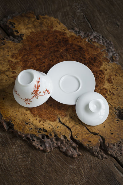 Hawthorn Branch Porcelain Gaiwan and Cups