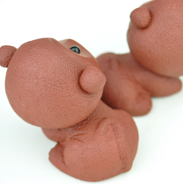 Pair of Yixing Clay Cute Monkeys Tea Mascots