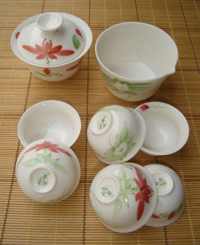 Lotus Flower * Portable Tea Set * Gaiwan, Pitcher, cups - Yunnan Sourcing Tea Shop