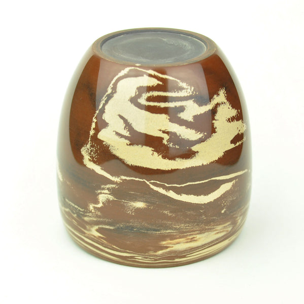 "Swirled White on Red ""Ban Jiao"" Jian Shui Large Clay Cup"