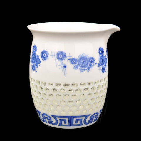 Blue and White Hexagonal Rice Grain Porcelain Cha Hai