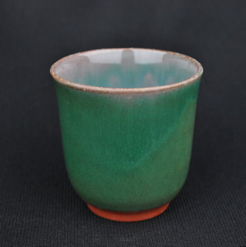 "Hua Ning Pottery ""Celadon Green on Red Clay"" Tall Cup 110ml"