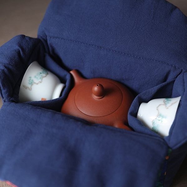 """Peacock Parade"" Cloth Carrying Case for Teapot & Cups"