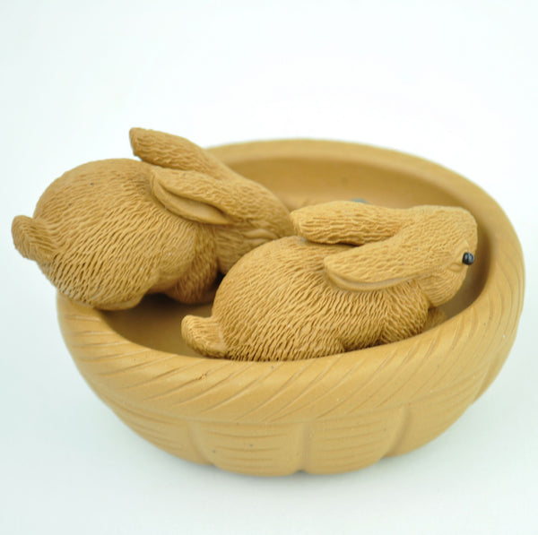 "Hand-Made ""Basket of Bunnies"" Clay Tea Mascot"