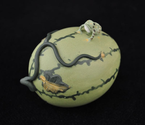 "Yixing Clay Tea Mascot ""Frog on a Watermelon"" Statue"
