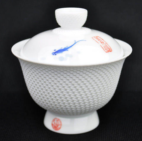 Beveled White Sichuan Style Ceramic Gaiwan * 150ml