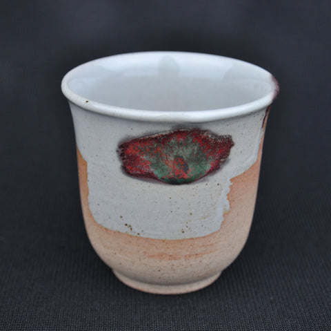 "Hua Ning Pottery ""Peacock Feather on White Clay"" Tall Cup 130ml"