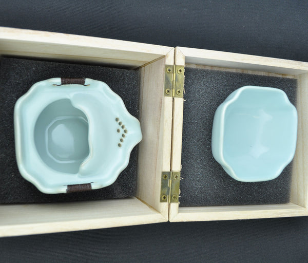 Ru Yao Celadon Easy Gaiwan and Cup in Wooden Gift Box