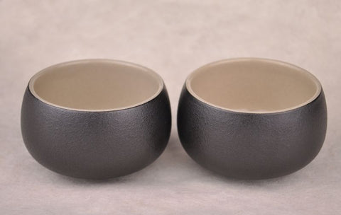 Black Glazed Ben Shan Clay Cups * Set of 2