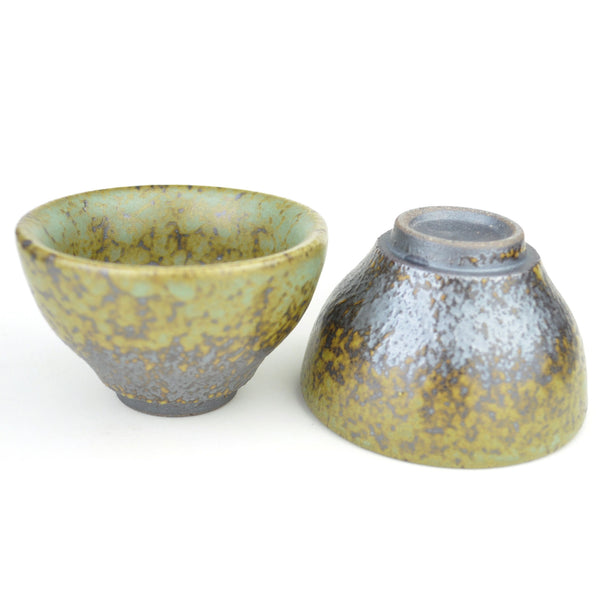 "Wood Fired Glazed ""Short"" Yixing Clay Cups * 65ml * Set of 2"