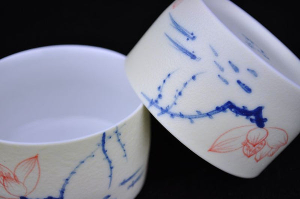 "Porcelain ""Lotus Pond"" Large Wide Cups for Tea * Set of 2"