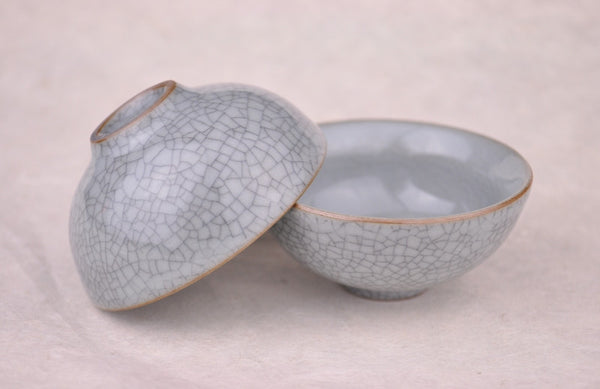 Ge Yao Celadon Grey Cups for Gong Fu Tea brewing * Set of 2