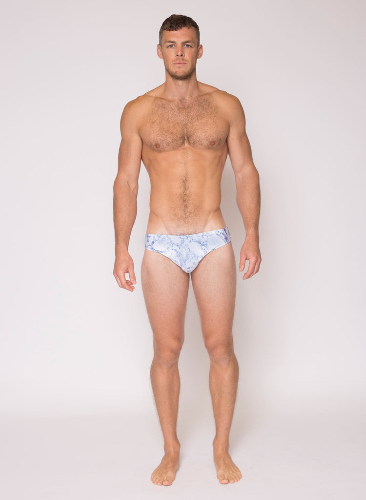 HVNC White Marble Swim Brief