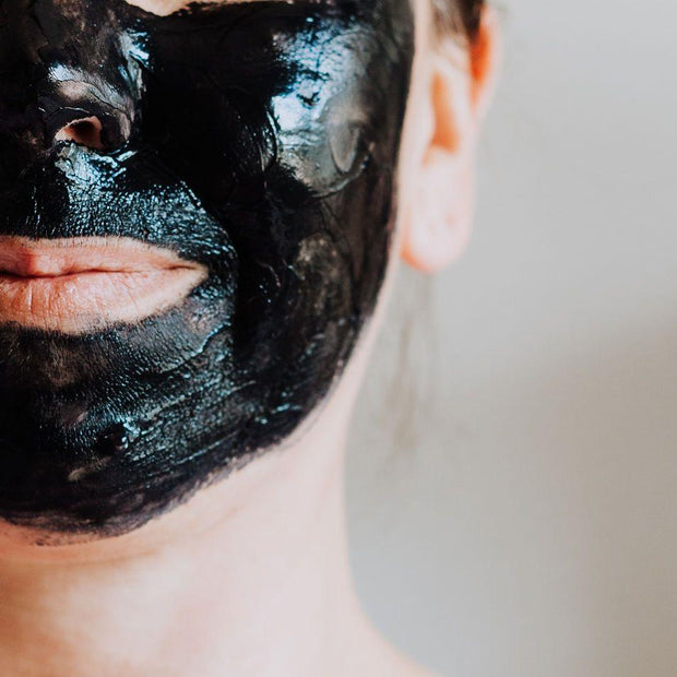 Bentonite Clay & Charcoal Face Mask on Face