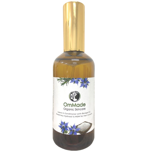 Leave-In Conditioner with Borage Oil, Rosemary Hydrosol and MSM for Hair Growth in Glass Bottle | Vegan | Refillable - OmMade Organic Skincare