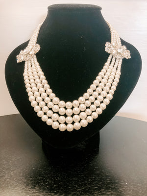 Four Strand Pearl Necklace with Rhinestones