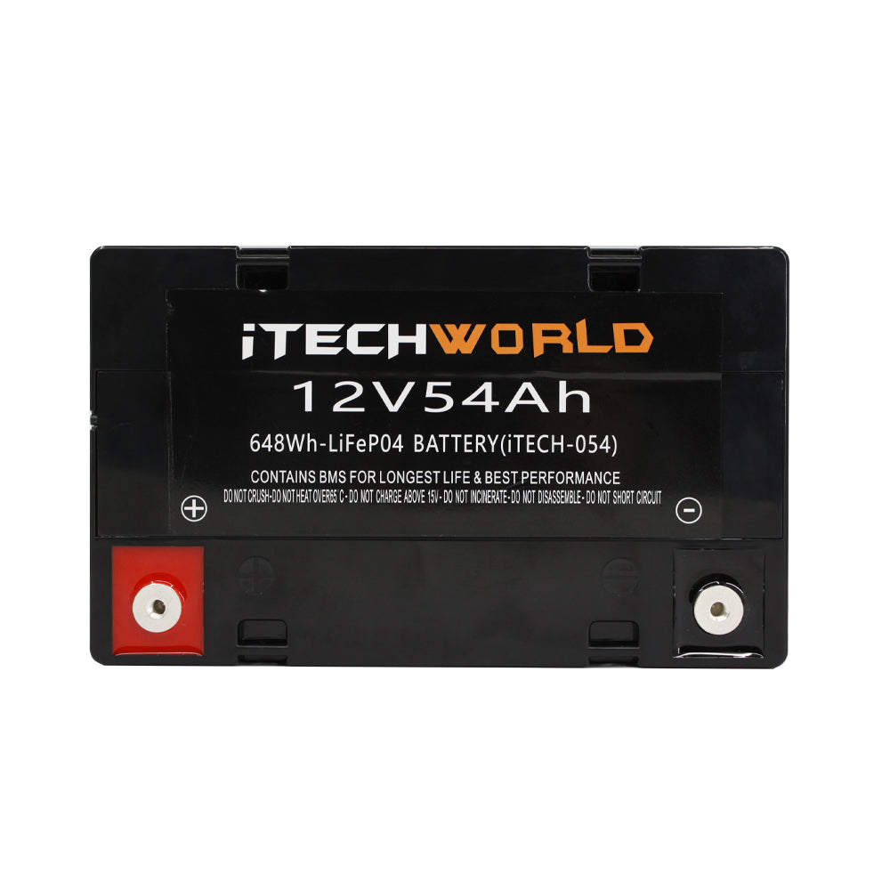 iTECH054 12v 54Ah Lithium Ion Battery - LiFePO4 Deep Cycle Recycle Camping RV Solar Slim Line