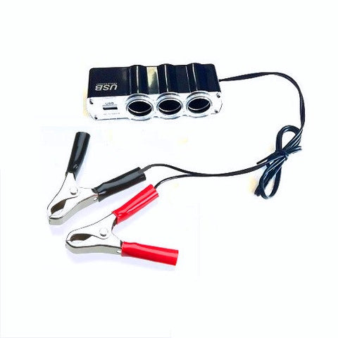 3 Way with Alligator clips Cigarette Lighter Adapter