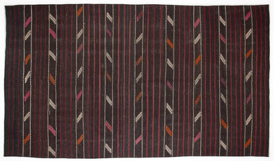 Striped Over Dyed Kilim Rug 6'1'' x 10'7'' ft 185 x 323 cm