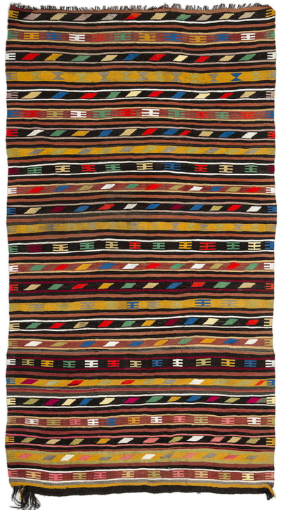 Striped Over Dyed Kilim Rug 5'11'' x 10'11'' ft 180 x 333 cm