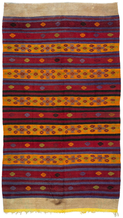 Striped Over Dyed Kilim Rug 5'11'' x 10'9'' ft 180 x 328 cm