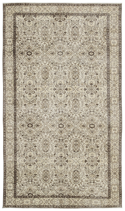 Beige Over Dyed Vintage Rug 5'9'' x 9'9'' ft 175 x 296 cm