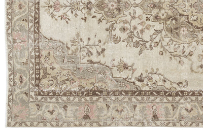 Beige Over Dyed Vintage Rug 5'10'' x 9'4'' ft 178 x 285 cm