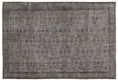 Gray Over Dyed Vintage Rug 6'6'' x 9'8'' ft 197 x 295 cm