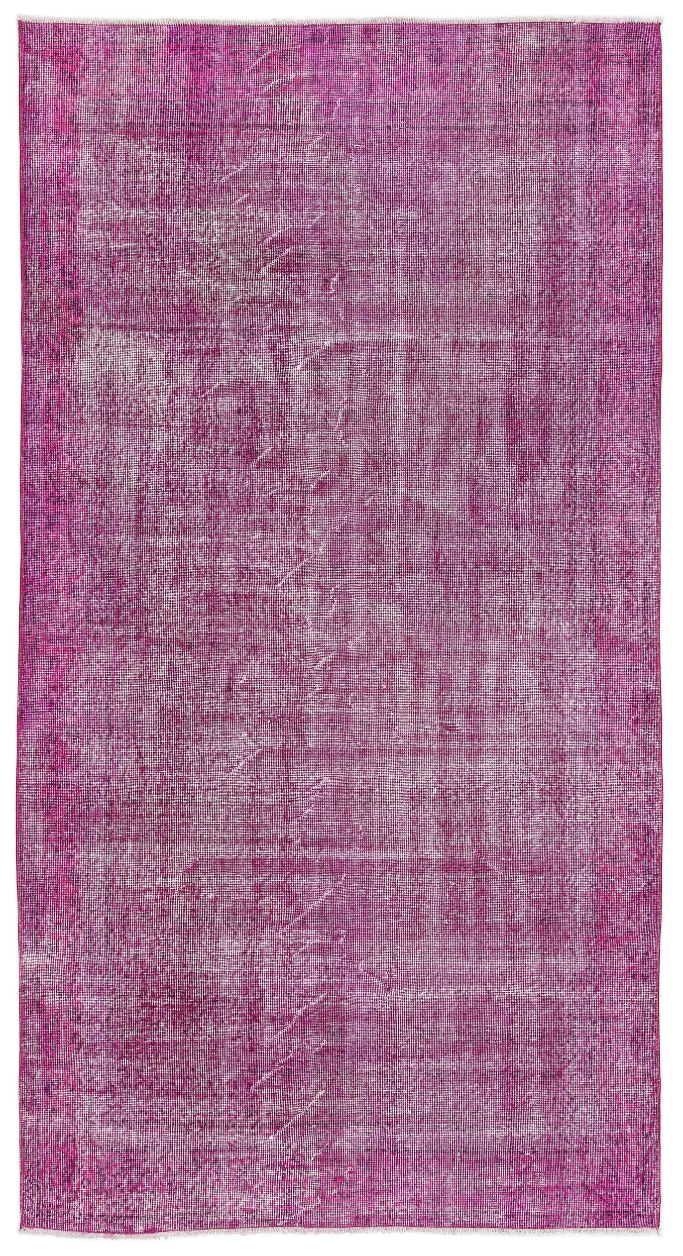 Fuchsia Over Dyed Vintage Rug 4'8'' x 8'9'' ft 142 x 267 cm