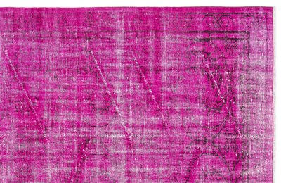 Fuchsia Over Dyed Vintage Rug 4'12'' x 8'3'' ft 152 x 251 cm