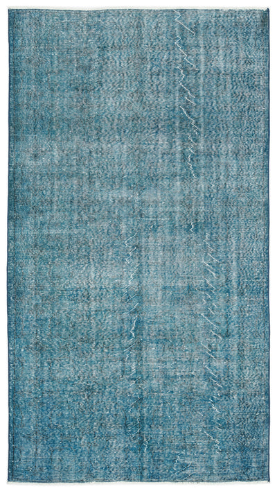 Turquoise  Over Dyed Vintage Rug 5'1'' x 9'3'' ft 155 x 282 cm