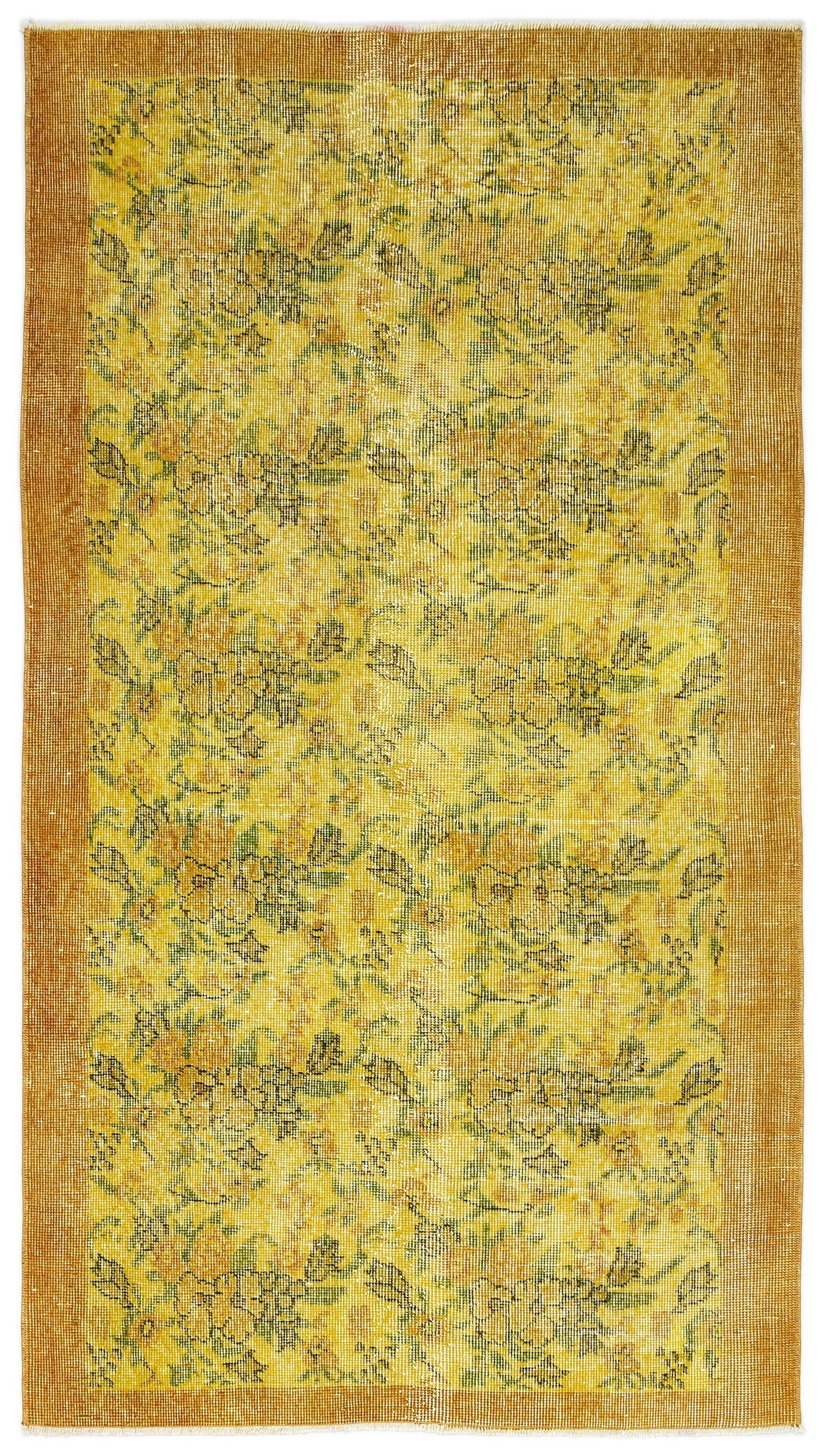 Yellow Over Dyed Vintage Rug 3'8'' x 6'8'' ft 111 x 202 cm