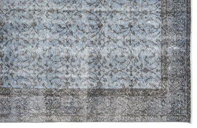 Blue Over Dyed Vintage Rug 5'7'' x 9'1'' ft 170 x 276 cm