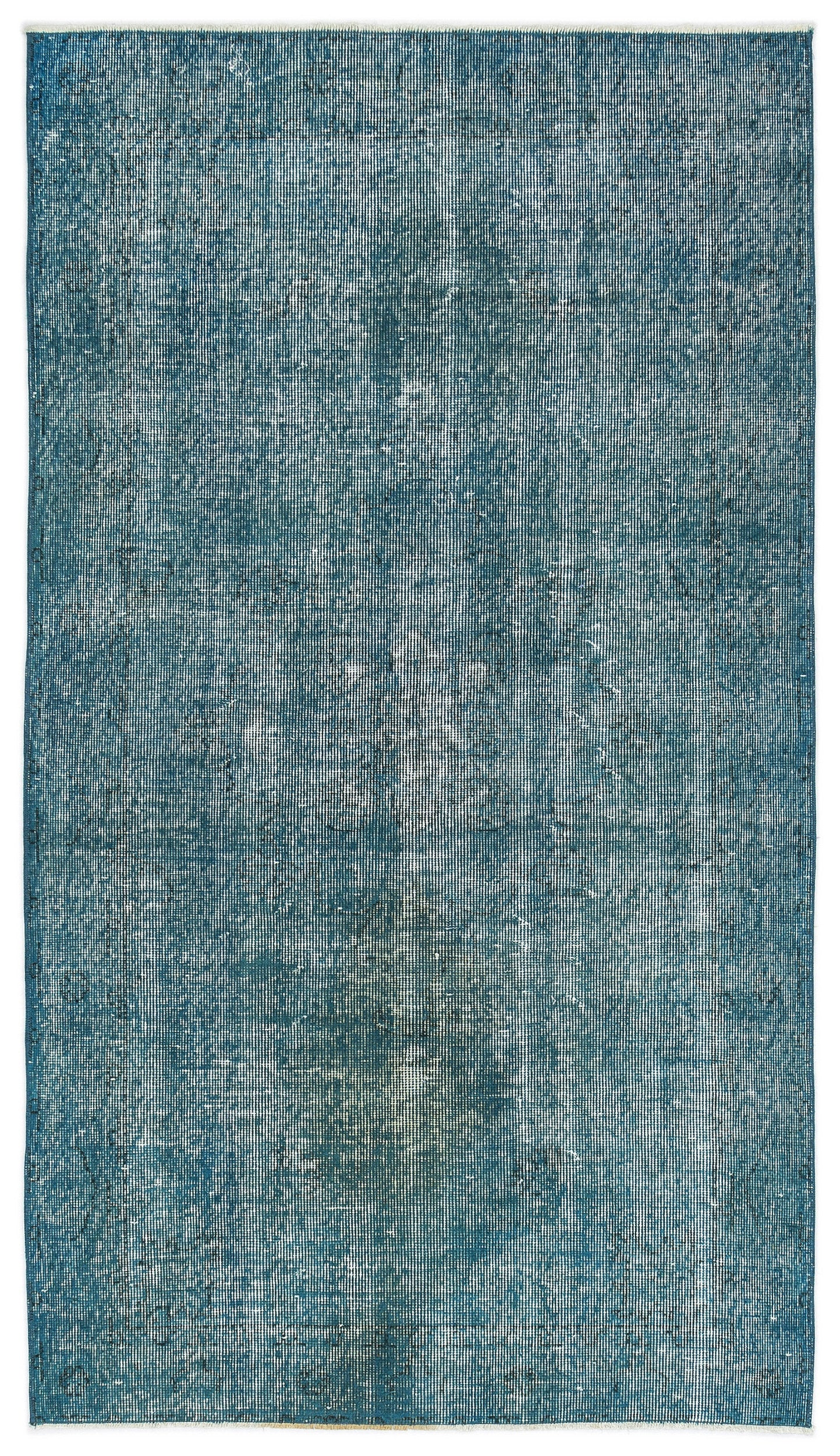 Turquoise  Over Dyed Vintage Rug 3'8'' x 6'6'' ft 112 x 199 cm