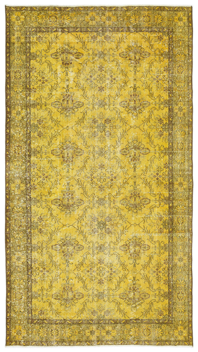 Yellow Over Dyed Vintage Rug 5'0'' x 9'2'' ft 153 x 279 cm