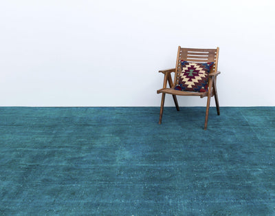 Turquoise  Over Dyed Vintage XLarge Rug 9'6'' x 12'6'' ft 290 x 380 cm