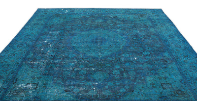 Turquoise  Over Dyed Vintage XLarge Rug 9'9'' x 12'8'' ft 296 x 386 cm