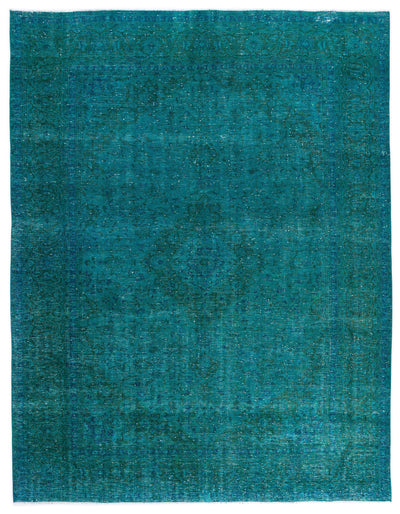 Turquoise  Over Dyed Vintage XLarge Rug 9'6'' x 12'3'' ft 290 x 374 cm
