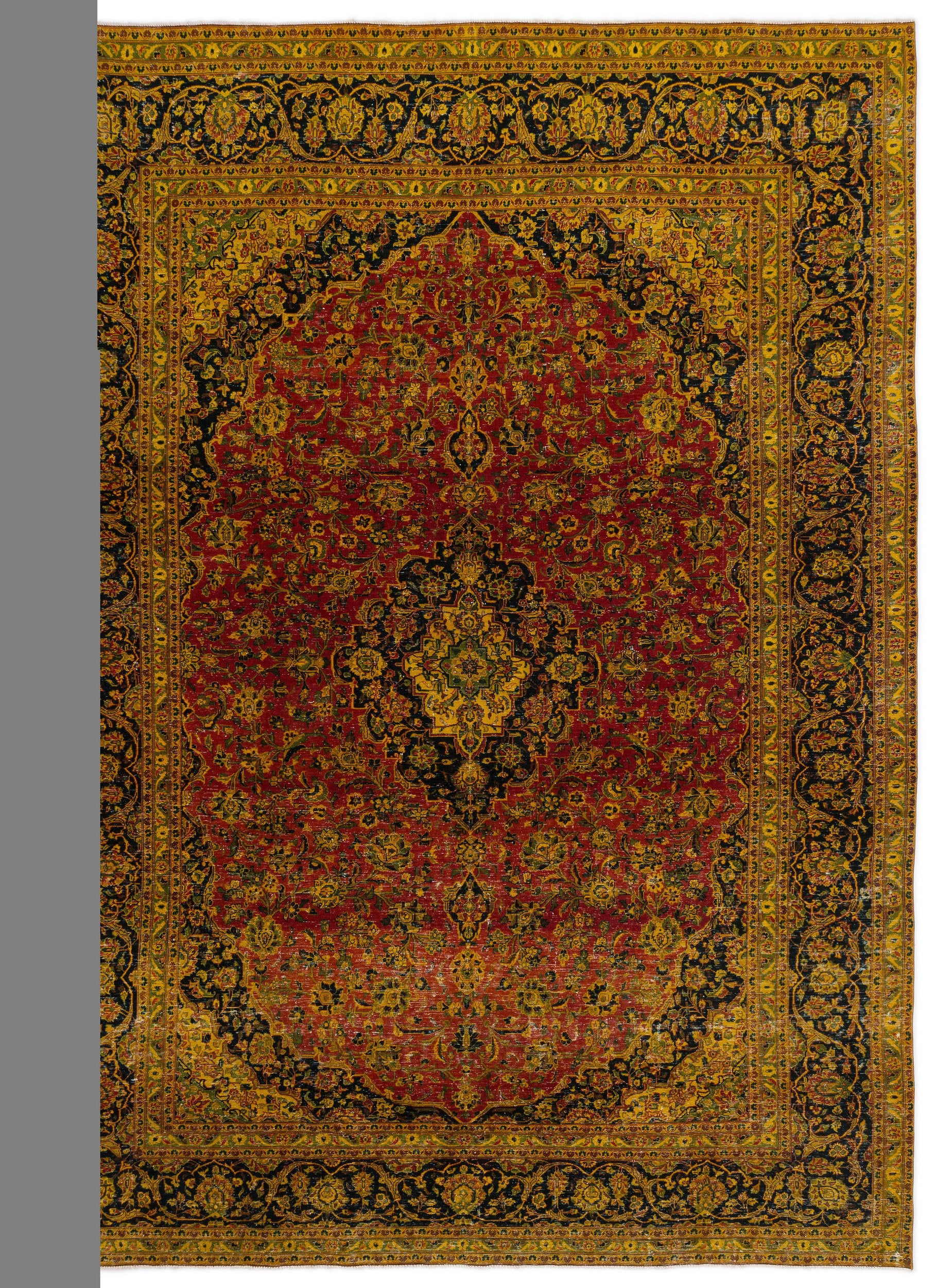 Yellow Over Dyed Vintage XLarge Rug 9'3'' x 9'7'' ft 283 x 292 cm