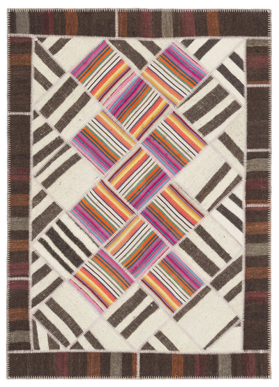Striped Over Dyed Kilim Patchwork Unique Rug 5'7'' x 7'10'' ft 171 x 240 cm