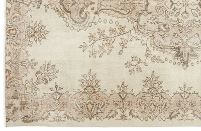 Beige Over Dyed Vintage Rug 6'2'' x 9'1'' ft 188 x 277 cm