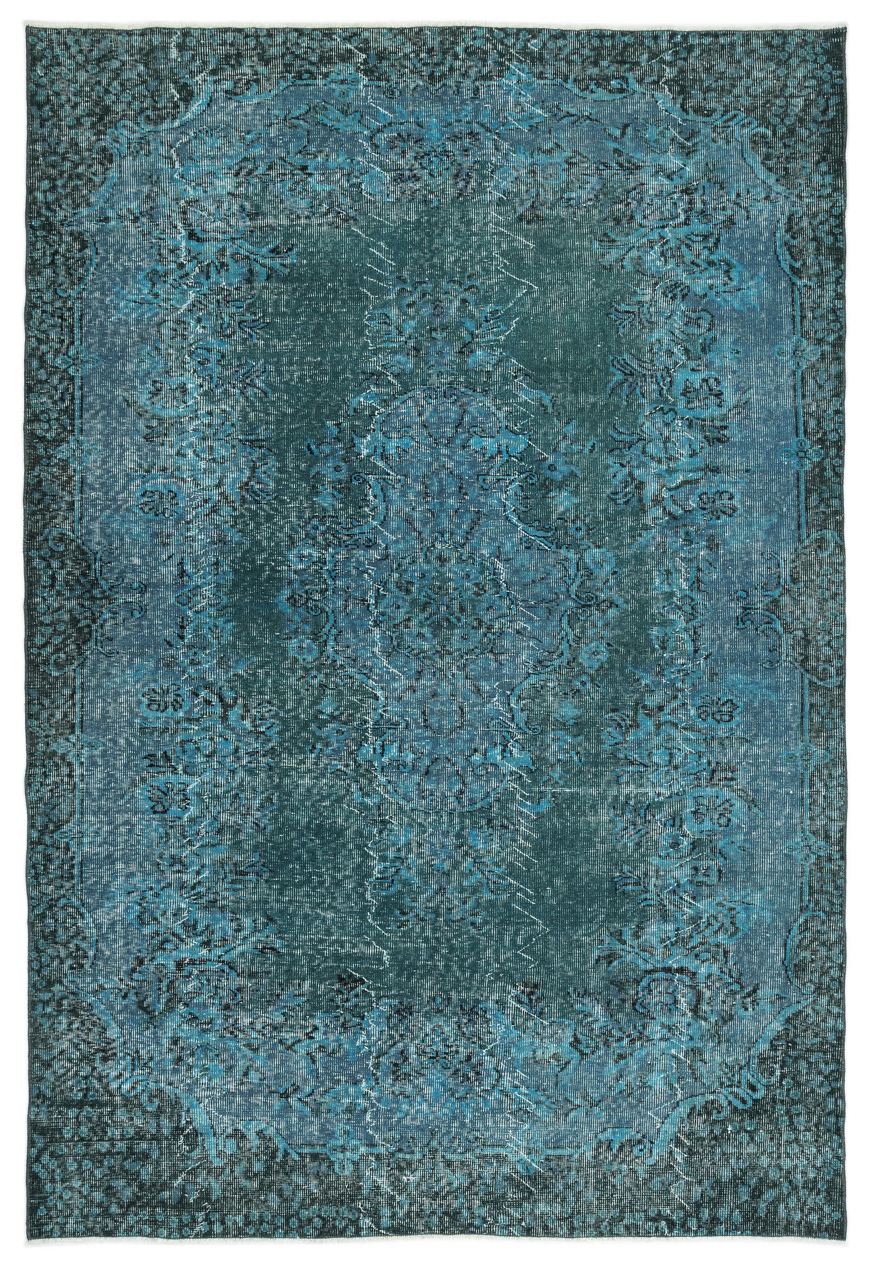 Turquoise  Over Dyed Vintage Rug 6'4'' x 9'3'' ft 193 x 283 cm