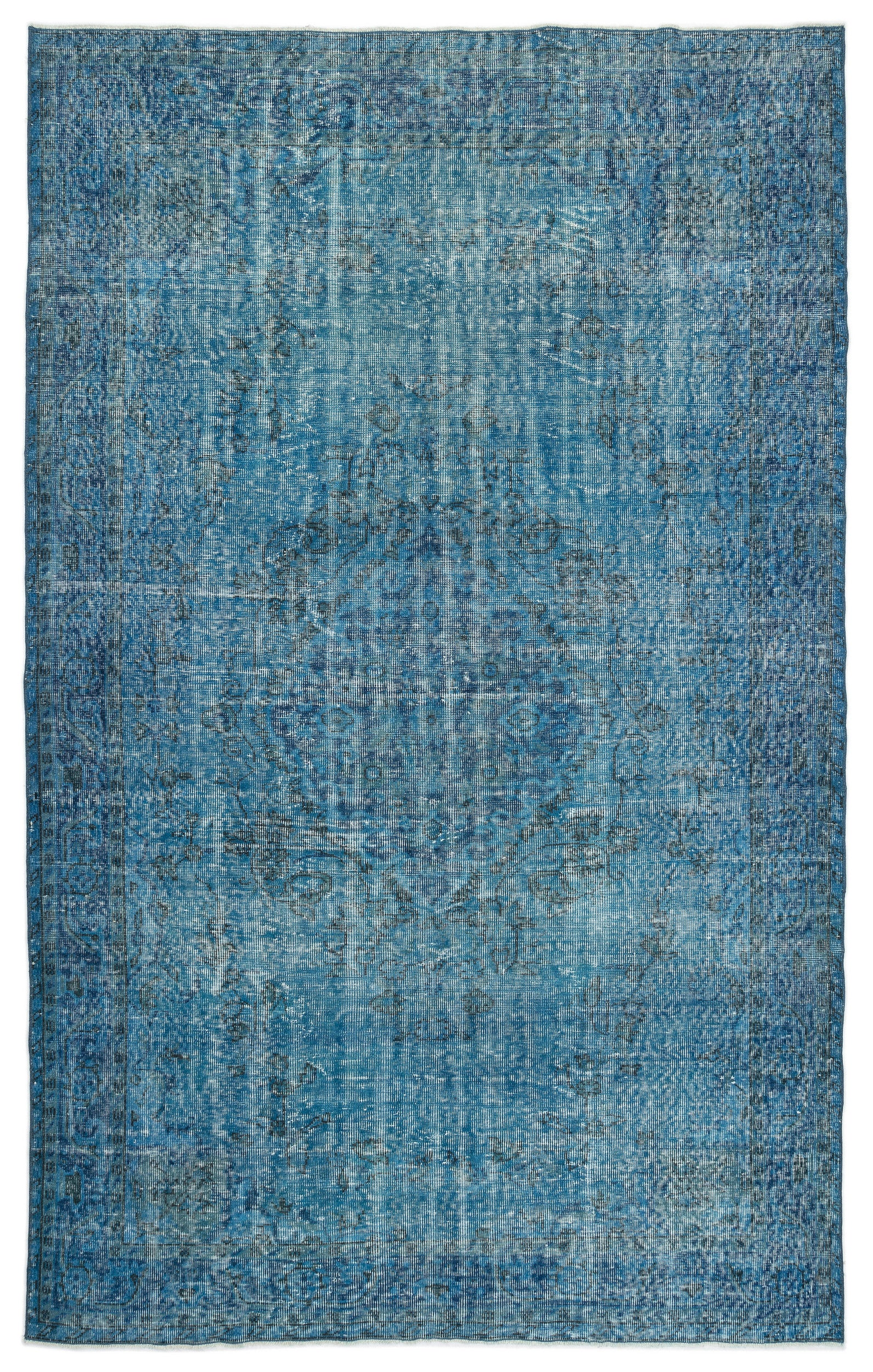 Turquoise  Over Dyed Vintage Rug 6'0'' x 9'11'' ft 184 x 302 cm